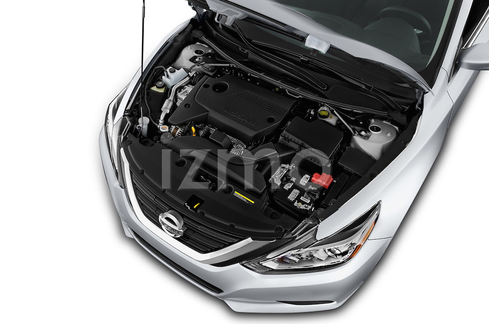 Car Stock 2017 Nissan Altima S 4 Door Sedan Engine  high angle detail view