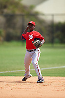 Washington Nationals Marquez Smith (43) during practice before a minor league Spring Training game against the Detroit Tigers on March 21, 2016 at Tigertown in Lakeland, Florida.  (Mike Janes/Four Seam Images)