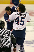 March 13, 2009:  Left Wing Riley Emmerson (45) of the Rochester Amerks and Right Wing Jay Rosehill (10) of the Toronto Marlies fight in the first period during a game at the Blue Cross Arena in Rochester, NY.  Toronto defeated Rochester 4-2.  Photo copyright Mike Janes Photography 2009
