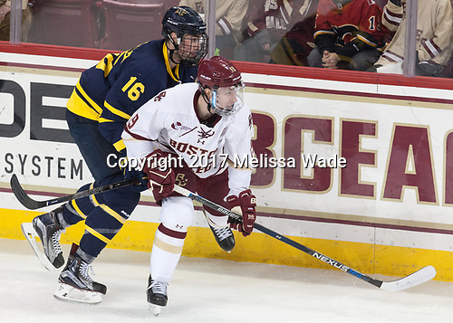 Chris LeBlanc (Merrimack - 16), Ryan Fitzgerald (BC - 19) - The visiting Merrimack College Warriors defeated the Boston College Eagles 6 - 3 (EN) on Friday, February 10, 2017, at Kelley Rink in Conte Forum in Chestnut Hill, Massachusetts.