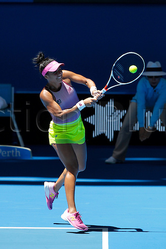 04.01.2017. Perth Arena, Perth, Australia. Mastercard Hopman Cup International Tennis tournament. Heather Watson (ENG) plays a back hand shot during her match against Kristina Mladenovic (FRA) on day 4. Mladenovic won 4-6, 7-5, 3-6.