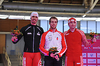 SCHAATSEN: BERLIJN: Sportforum, 06-12-2013, Essent ISU World Cup, podium 500m Men Division B, Artur Was (POL), William Dutton (CAN), Aleksey Yesin (RUS), ©foto Martin de Jong