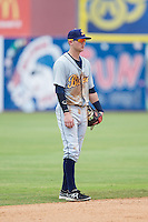 Montgomery Biscuits shortstop Jake Hager (2) on defense against the Chattanooga Lookouts at AT&T Field on July 23, 2014 in Chattanooga, Tennessee.  The Lookouts defeated the Biscuits 6-5. (Brian Westerholt/Four Seam Images)