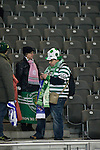 A group of Sporting fans pictured inside the stadium before Hertha Berlin's match against  Sporting Lisbon at the Olympic Stadium in Berlin in the group stages of the UEFA Europa League. Hertha won the match by 1 goal to nil to press to the knock-out round of the cup. 2009/10 was the the first year in which the Europa League replaced the UEFA Cup in European football competition.