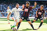 Real Madrid's player Daniel Carvajal and Eibar FC's player Antonio Luna and Ruben Peña Jimenez during a match of La Liga Santander at Santiago Bernabeu Stadium in Madrid. October 02, Spain. 2016. (ALTERPHOTOS/BorjaB.Hojas)