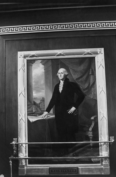 The portrait of George Washington is to the left of the Speaker's chair when looking towards the front of the room. Portrait of Marquis de Lafayette hangs also on the House floor on Sep. 10, 1991. (Photo by Maureen Keating/CQ Roll Call via Getty Images)