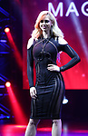 """Chloe Crawford, """"The Sorceress"""" from the cast of Broadway's """"The Illusionists—Magic of the Holidays"""" on stage for a press preview at the Marquis Theatre  on November 27, 2018 in New York City."""