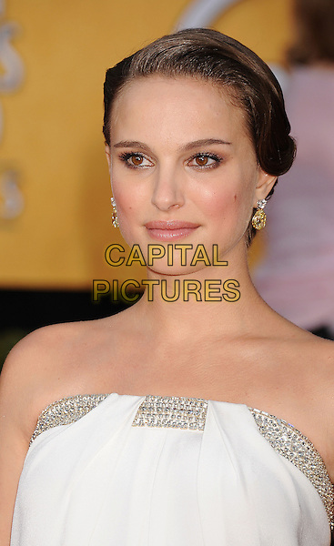 NATALIE PORTMAN.The 17th Screen Actors Guild Awards held at The Shrine Auditorium in Los Angeles, California, USA,.January 30th 2011..SAG Sags arrivals portrait headshot strapless white silver trim hair up beauty earrings smiling .CAP/ROT/TM.©Tony Michaels/Lee Roth/Capital Pictures