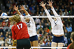 KANSAS CITY, KS - DECEMBER 14: Haleigh Washington #14 and Ali Frantti #5 of Penn State University jump for a block against the University of Nebraska during the Division I Women's Volleyball Semifinals held at Sprint Center on December 14, 2017 in Kansas City, Missouri. (Photo by Tim Nwachukwu/NCAA Photos via Getty Images)