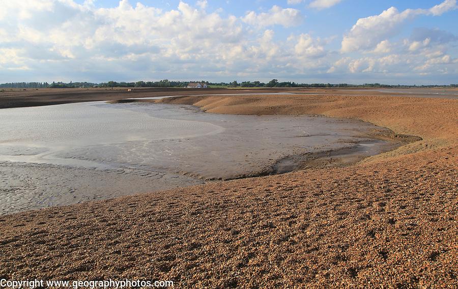 Shingle beach mud sediment in temporary lagoon, Shingle Street, Suffolk, England, UK