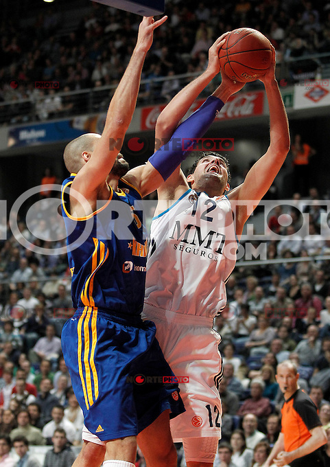 Real Madrid's Nikola Mirotic (r) and BC Khimki MR's James Augustine during Euroleague 2012/2013 match.November 23,2012. (ALTERPHOTOS/Acero) /NortePhoto