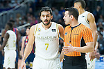 Conversation between Facundo Campazzo (l) and referee Vicente Martinez during  Real Madrid vs Kirolbet Baskonia game of Liga Endesa. 19 January 2020. (Alterphotos/Francis Gonzalez)