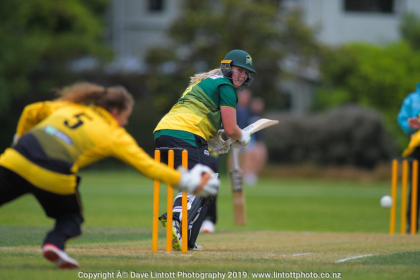 Central's Jess Watkin bats during the women's Hallyburton Johnstone Shield cricket match between the Wellington Blaze and Central Hinds at Karori Park in Wellington, New Zealand on Sunday, 1 December 2019. Photo: Dave Lintott / lintottphoto.co.nz