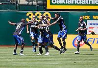 San Jose players celebrate Ryan Cochrane's goal in the 90th minute. San Jose Earthquakes defeated LA Galaxy 3-2. August 3, 2008, McAfee Coliseum, Oakland, CA.