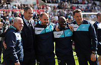(L-R) The Swansea coaching staff Nigel Gibbs, Paul Clement, Karl Halabi, Claude Makelele and Tony Roberts pose for a picture after the Premier League match between Swansea City and West Bromwich Albion at The Liberty Stadium, Swansea, Wales, UK. Sunday 21 May 2017
