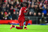 Liverpool's Sadio Mane celebrates scoring his side's fourth goal <br /> <br /> Photographer Richard Martin-Roberts/CameraSport<br /> <br /> UEFA Champions League Group C - Liverpool v Crvena Zvezda - Wednesday 24th October 2018 - Anfield - Liverpool<br />  <br /> World Copyright © 2018 CameraSport. All rights reserved. 43 Linden Ave. Countesthorpe. Leicester. England. LE8 5PG - Tel: +44 (0) 116 277 4147 - admin@camerasport.com - www.camerasport.com