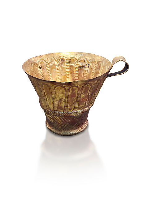 Mycenaean gold cup with arches decoration, Grave V, Grave Circle A Mycenae, Greece. National Archaeological Museum of Athens. White background.<br /> <br /> An elegant precious gold cup hammered from thick gold to created a simple elegant design. This Mycenaean gold cup demonstrates how advance Mycenaean metalworking was in the 16th century BC. The value of the cup would have been extermely high so must have graced the table of a Mycenaean noble perhaps even a v king.
