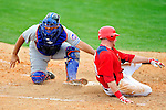 1 March 2011: Washington Nationals' outfielder Corey Brown is tagged out at the plate by catcher Raul Chavez during a Spring Training game against the New York Mets at Space Coast Stadium in Viera, Florida. The Nationals defeated the Mets 5-3 in Grapefruit League action. Mandatory Credit: Ed Wolfstein Photo