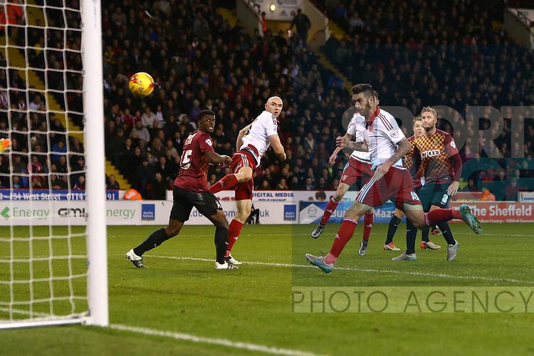 Sheffield United's David Edgar scores his sides third goal - Sheffield United vs Bradford City - Skybet League One - Bramall Lane - Sheffield - 28/12/2015 Pic Philip Oldham/SportImage