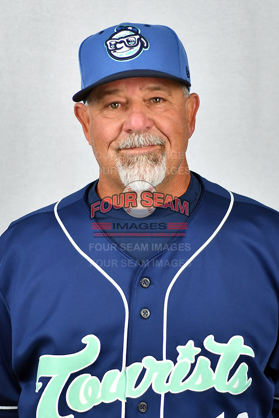Asheville Tourists pitching coach Mark Brewer (13) during media day at McCormick Field on April 2, 2019 in Asheville, North Carolina. (Tony Farlow/Four Seam Images)