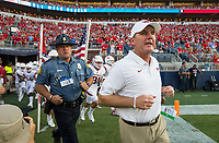 NWA Democrat-Gazette/BEN GOFF @NWABENGOFF<br /> Chad Morris, Arkansas head coach, leads the team onto the field for the game vs Ole Miss Saturday, Sept. 7, 2019, at Vaught-Hemingway Stadium in Oxford, Miss.