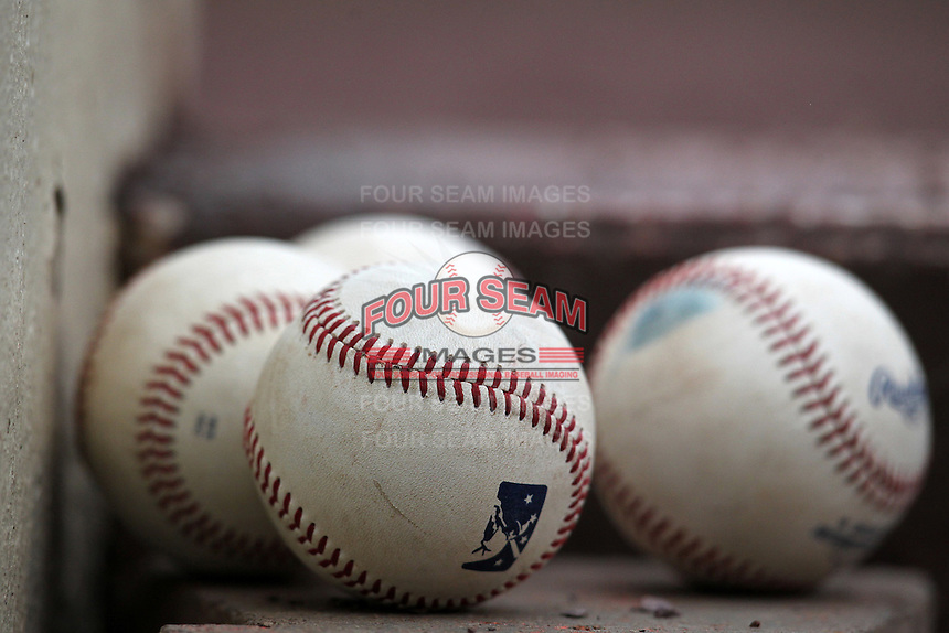 Empire State Yankees baseballs sitting on the dugout steps during the first game of a double header against the Columbus Clippers at Frontier Field on May 8, 2012 in Rochester, New York.  Columbus defeated Empire State 1-0.  (Mike Janes/Four Seam Images)
