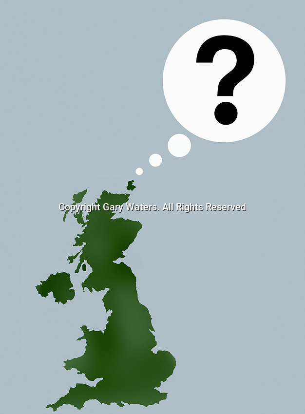 United Kingdom map with question mark thought bubble