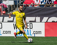 Foxborough, Massachusetts - May 21, 2017: In a Major League Soccer (MLS) match, New England Revolution (blue/white) defeated Columbus Crew (yellow), 2-1, at Gillette Stadium.