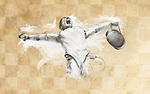 Illustrative image of fencer screaming over victory
