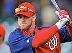 6 March 2012: Washington Nationals outfielder Bryce Harper awaits his turn in the batting cage prior to a Spring Training game against the Atlanta Braves at Champion Park in Disney's Wide World of Sports Complex, Orlando, Florida. The Nationals defeated the Braves 5-2 in Grapefruit League action. Mandatory Credit: Ed Wolfstein Photo