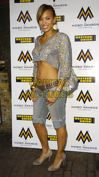 JAVINE HYLTON.Attends the 11th Annual MOBO Awards Nominations & Launch at Proud Camden, London, England, .August 15th 2006..full length silver beaded sequined cropped top jeans pedal pushers.Ref: CAN.www.capitalpictures.com.sales@capitalpictures.com.©Can Nguyen/Capital Pictures