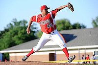 Batavia Muckdogs pitcher Helpi Reyes #40 during a game against the Auburn Doubledays on June 18, 2013 at Dwyer Stadium in Batavia, New York.  Batavia defeated Auburn 10-2.  (Mike Janes/Four Seam Images)