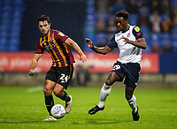 Bolton Wanderers' De'Marlio Brown-Sterling competing with Bradford City's Danny Devine (left) <br /> <br /> Photographer Andrew Kearns/CameraSport<br /> <br /> EFL Leasing.com Trophy - Northern Section - Group F - Bolton Wanderers v Bradford City -  Tuesday 3rd September 2019 - University of Bolton Stadium - Bolton<br />  <br /> World Copyright © 2018 CameraSport. All rights reserved. 43 Linden Ave. Countesthorpe. Leicester. England. LE8 5PG - Tel: +44 (0) 116 277 4147 - admin@camerasport.com - www.camerasport.com