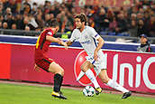 31st October 2017, Stadio Olimpico, Rome, Italy; UEFA Champions League, Roma versus Chelsea;  Marcos Alonso looks to bring the ball forward