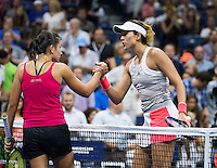ANASTASIJA SEVASTOVA (LAT), GARBI&Ntilde;E MUGURUZA (ESP)<br /> <br /> TENNIS - THE US OPEN - FLUSHING MEADOWS - NEW YORK - ATP - WTA - ITF - GRAND SLAM - OPEN - NEW YORK - USA - 2016  <br /> <br /> <br /> <br /> &copy; TENNIS PHOTO NETWORK