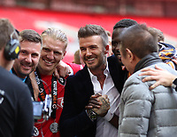 David Beckham celebrates after the AFC Fylde vs Salford City, Vanarama National League Play-Off Final Football at Wembley Stadium on 11th May 2019