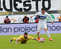 Oliver Kragl  and Danilo D'Ambrosio  during the  italian serie a soccer match,between Frosinone and Inter      at  the Matusa   stadium in Frosinone  Italy , April 09, 2016