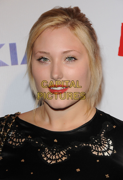 HAYLEY HASSELHOFF.The The Pee-Wee Herman Show Opening Night held at Club Nokia at L.A. Live in Los Angeles, California, USA..January 20th, 2010.headshot portrait black cut out red lipstick.CAP/RKE/DVS.©DVS/RockinExposures/Capital Pictures.