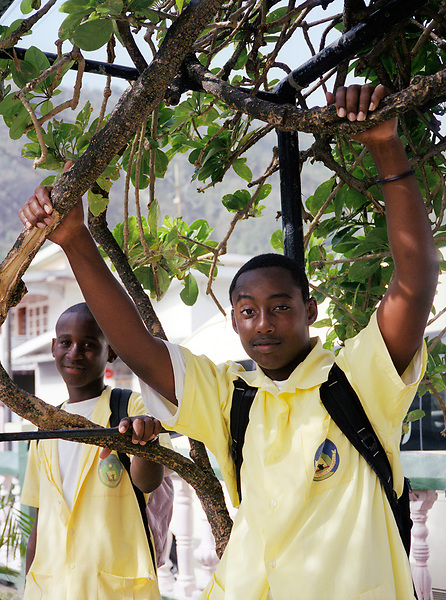 Local students hang out at the town square in Soufriere. St. Lucia.