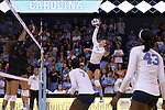 10 September 2015: North Carolina's Taylor Fricano hits the ball. The University of North Carolina Tar Heels hosted the Stanford University Cardinal at Carmichael Arena in Chapel Hill, NC in a 2015 NCAA Division I Women's Volleyball contest. North Carolina won the match 25-17, 27-25, 25-22.