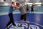Assistant wrestling coach of the Columbia University's wrestling team, Hudson Taylor drilling with Nick Mills during practice at Columbia University in Manhattan, NY on May 20, 2013. Taylor has been one of very few athletes who have supported the LGBT community, even though he himself is straight.