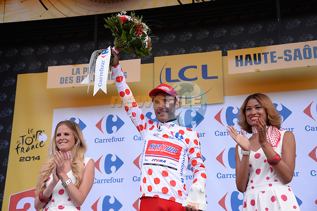 Joaquim Rodriguez (ESP) Katusha takes over the climber's Polka Dot Jersey at the end of Stage 10 of the 2014 Tour de France running 161.5km from Mulhouse to La Planche des Bellles Filles. 14th July 2014.<br /> Photo ASO/X.Bourgois/www.newsfile.ie