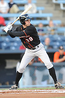 Delmarva Shorebirds Mike Flacco #39 swings at a pitch during  a game against  the  Asheville Tourists at McCormick Field in Asheville,  North Carolina;  May 6, 2011. The Shorebirds won the game 6-5.  Photo By Tony Farlow/Four Seam Images