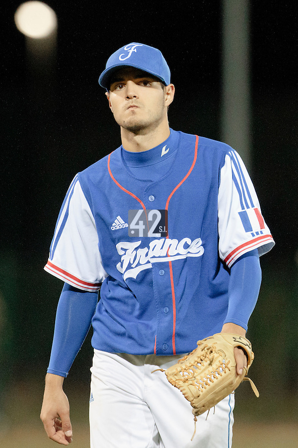 17 August 2010: Starting pitcher Joris Navarro of Team France looks dejected as he pitches against Czech Republic during the Czech Republic 4-3 win over France, at the 2010 European Championship, under 21, in Brno, Czech Republic.