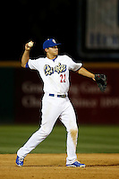 Corey Seager #22 of the Rancho Cucamonga Quakes during a game against the Lake Elsinore Storm at LoanMart Field on August 6, 2013 in Rancho Cucamonga, California. Lake Elsinore defeated Rancho Cucamonga, 13-5. (Larry Goren/Four Seam Images)