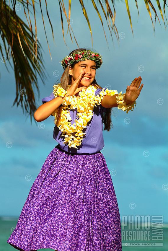 Keiki hula dancer at the beach