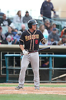 Troy Stein (8) of the Modesto Nuts bats during a game against the Lancaster JetHawks at The Hanger on April 25, 2015 in Lancaster, California. Lancaster defeated Modesto, 5-4. (Larry Goren/Four Seam Images)