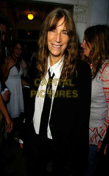 """PATTI SMITH.The """"Robert Mapplethorpe: Patti & LIsa"""" private view, Alison Jacques Gallery, London, UK..Septmeber 7th, 2006.Ref: CAN.half length black suit jacket.www.capitalpictures.com.sales@capitalpictures.com.©Can Nguyen/Capital Pictures"""