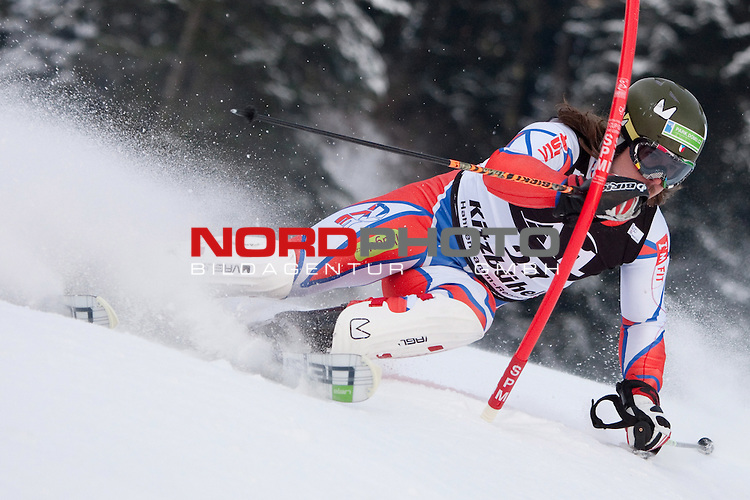 KITZBUHEL AUSTRIA. 23-01-2011. Ondrej Bank (CZE) attacks a control gate while competing in the slalom race part of  Audi FIS World Cup races in Kitzbuhel Austria.                                                                                                        Foto nph /  Mitchell Gunn