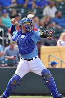 Omaha Storm Chasers catcher Cam Gallagher (46) in action against the Oklahoma City Dodgers at Werner Park on June 24, 2018 in Omaha, Nebraska. Omaha won 8-0.  (Dennis Hubbard/Four Seam Images)